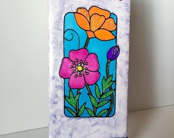 "Floral ""Bloom"" Mixed Media Art Tile"