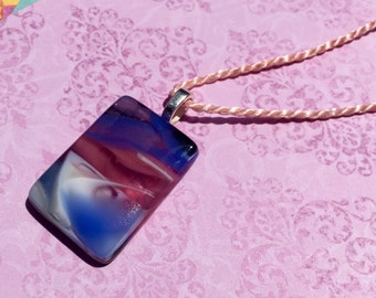 Fused Glass Pendant in Purple/ Pink Swirl