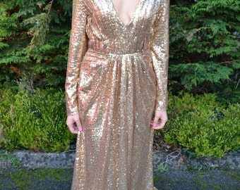 Sequin long sleeve open back dress - Ready to Wear 'Helena' gown - vintage-inspired glamour dress with plunging neckline and long sleeves