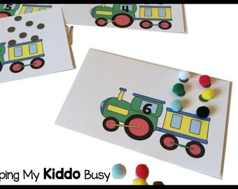 Numbers and Counting Train Busy Bag - 1:1 Correspondence - Preschool - Kindergarten Busy Bag