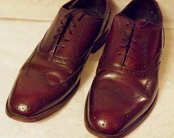 70s Vintage Hanover Wing Tip Mens Oxblood Brogue Dress Shoe 8 E