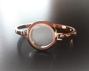Rose Gold Floating Locket Bangle Bracelet-30mm-Stainless Steel-Gift Idea for Women