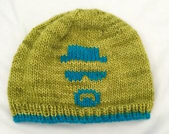 Heisenberg Beanie, Hand Knit Hat, Knit Beanie, Super Soft Hat, Handmade Hat, Green Knit Hat, Warm Hat, Breaking Bad Hat, Breaking Bad Beanie