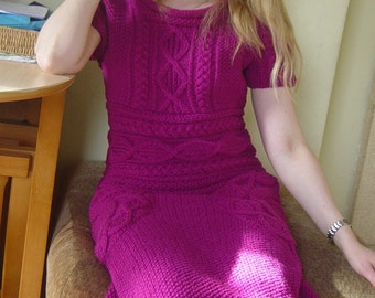 Pink Fucsia Tunic Dress Ladies/Women Hand Knitted Wool Blend Short Sleeved