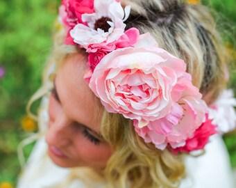 Elegant Light Pink Floral Crown, Spring or Summer Flower Crown