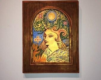 Golden goddess original art, Samhain sabbat altar shrine, mother goddess fertility