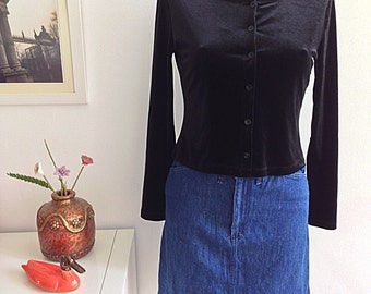 Vintage 90s black velvet top long sleeve top with buttons, Grunge Style. Talla S.