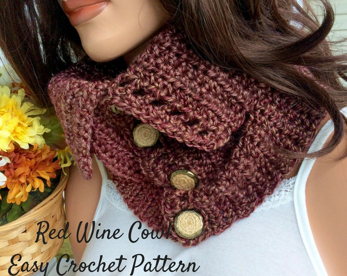 Easy Cowl Crochet Pattern, Beginner's Crochet Pattern and Photo Tutorial, Red Wine Cowl Easy Crochet Pattern for Beginners