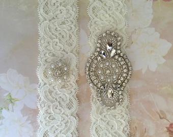 Sale Garter-Sale Wedding Garter-Plus Size Garter-Sale Bridal Garter-Rhinestone Garter-Rhinestone Pearl Applique Bridal Garter Set