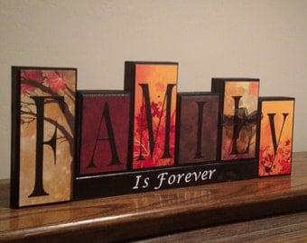 House Decor - Family Decor - Living Room - House Warming Gift - Family Name Sign - Wood Decor - Autumn - Fall Decor - Family Name Blocks