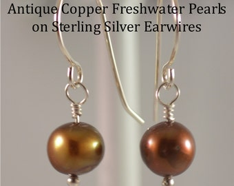 "Freshwater Pearl Earrings (dyed) ""Antique Copper"", on hand-made Sterling Silver fish-hook Earwires"
