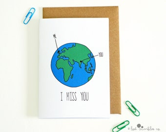 Sweet Miss You Card ∙ Thinking of You Card ∙ Long Distance Card ∙ Card for Him ∙ Card for Her ∙ Earth card ∙ Miss You Card