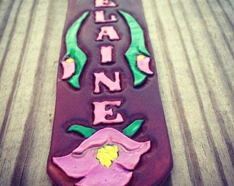 Custom Leather Bookmark Handtooled with Your Name!