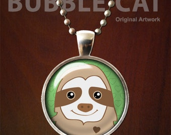 Sloth Necklace, Sloth Pendant,  Cute Sloth Charm with Chain, Sloth Artwork, Cartoon Smiling sloth jewelry, original artwork, sloths animals