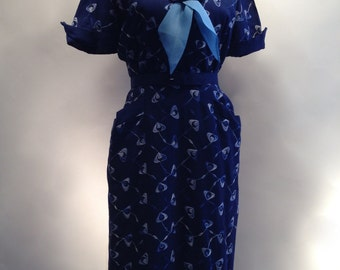 1950's JOAN from MAD MEN Wiggle Dress in Navy with Embroidery / Size Large. DeadStock