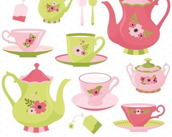 80% OFF SALE Tea Time Clipart, Tea Party Clipart, Tea Clipart, Tea Cups, Tea Pots, Printable, Commercial Use