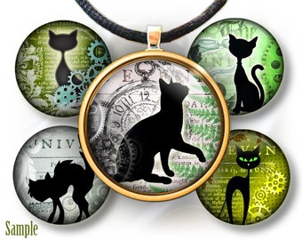 "Vintage Steampunk Cats silhouettes - bottle cap images - 1'' circles, 25mm, 30mm, 1.25"", 1.5"" for Jewelry Making Idea, BUY 2 GET 1 FREE"