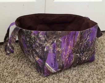 Diaper Caddy/Organizer/Fabric Storage Bin/Toy Bin/Camo/Purple Camo/True Timber Diaper Caddy