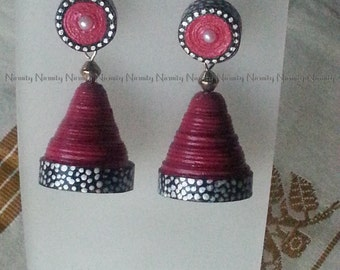 Pink and black quilled earrings,paper jhumkas with silver plated bead,quilling jhumkas-FREE SHIPPING