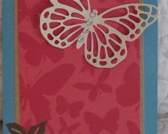 Butterfly Handmade Notecard /Handmade notecard