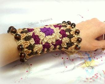 Crochet bracelet - Crochet cuff fashion statement OOAK Cuff boho chic Jewelry cotton Guff beads ethno steampunk wristband Beaded cuff