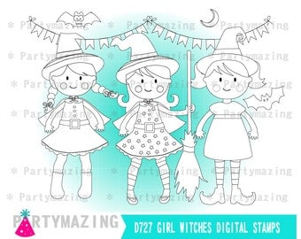 Cute Witches ClipArt Set, Witch Halloween Digital Stamp Set,  Line Clip Art Graphic Set, Instant Download -D727