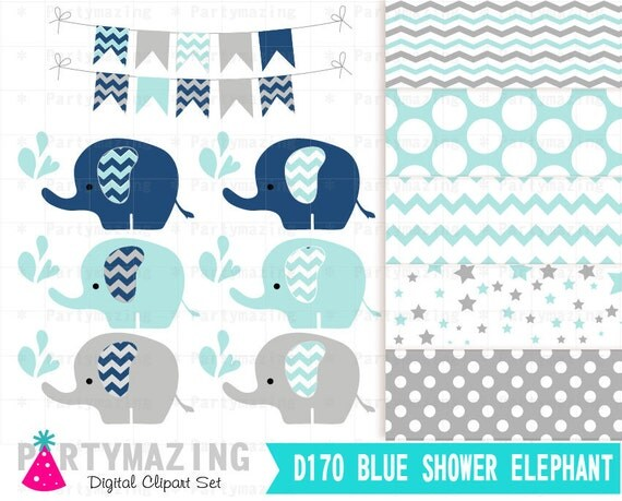 Snap Elephant Clipart Chevron Pink And Gray Clip Art Set And