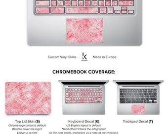 Marble Chromebook Skin Chromebook Decal Chromebook Cover Keyboard Decal Sticker Acer Asus Dell HP Lenovo Toshiba Pink Marble Decal