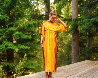 Here Comes The Sun 70s Terry Cloth Dress, Velour Sunshine Maxi Dress One Size Beach Caftan Kaftan Yellow Orange Psychedelic Lounge Dress