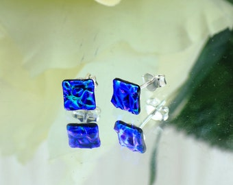 Fused Glass Stud Earrings - Dichroic Glass Earrings - Green/Blue Dichroic Glass.  JBT313