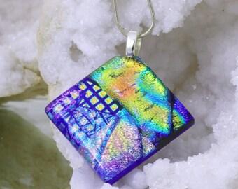 Fused Glass Pendant - Elegant Dichroic Glass Necklace - Blue and Rainbow Coloured Diamond Shaped Pendant - Fused Glass Jewelry. JBT238