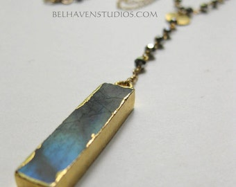 Y drop Gold edge labradorite bar wire wrapped crystals gold fil  long necklace Semi precious Gemstones Trendy layering gold fil jewelry