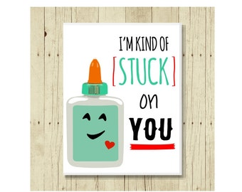I'm Kind of Stuck on You, Funny Magent, Refrigerator Magnet, Glue, Cute Fridge Magnet, Gifts Under 10, Small Gift, Gift Magnet, Gift for Kid