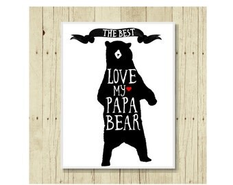 Papa Bear Magnet, Funny Magent, Refrigerator Magnet, Fathers Day Gift, Gift for Father, Grizzly Bear Art, Love Magnet, The Best Dad Gift