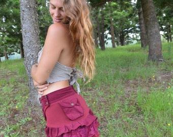 Elven Skirt, Wrap Skirt, Mini Skirt, Fairy Skirt, Pixie, Faerie, Lace, Festival, Goa, Doof, Psytrance, Boho, Gypsy, Tribal, Boho, Bohemian