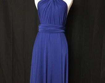 Royal blue Bridesmaid Dress , Infinity Dress,Knee Length Wrap Convertible Dress.Party dress-A16#