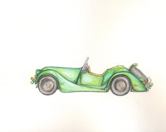 Vintage car Original painting Retro car Watercolor original Morgan Plus 8 car Boy's art Transportation art Baby boy nursery wall art