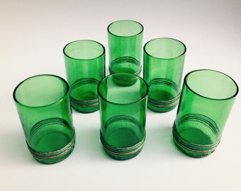 Green Glasses, Set Of 6 Glasses, Eco Friendly Gift, 6 Recycled Beer Bottles, Art Recycle Glass, Unusual Gift, Cocktail Glasses, Juice Glass