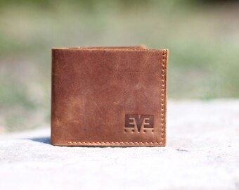Small wallet from genuine leather, handmade wallet for men, LB1010 Ginger