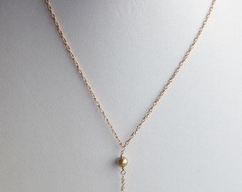 Citrine and Pearl 14K Rose Gold Filled Handmade Necklace