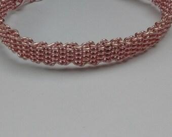 Pink Weaved Wire Bracelet