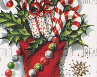 Stocking Filled with Presents and Candy Canes Christmas Card #538 Digital Download