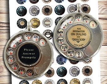 """Rotary Phone Dials 25mm 1"""" 20mm 18mm Circle Images for Earrings Cabochons Pendants Digital Collage Sheet Instant Download"""