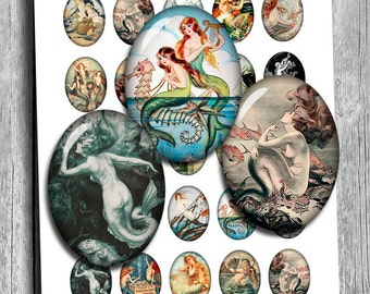 Mermaids Sirens Oval Images 13x18mm 30x40mm 22x30mm 18x25mm  for Jewelry Making - Digital Collage Sheet - Instant Download
