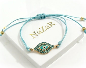 Blue String Evil Eye Bracelet, Evil Eye Jewelry, Evil Eye Charm Bracelet - Trendy Blue Evil Eye bracelet arrives in a white gift box!