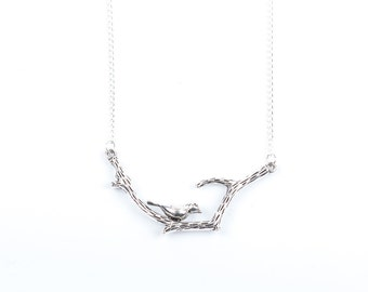 Bird Necklace | Silver Bird on Branch Necklace | Bird Jewellery | Wildlife Necklace | Gift Boxed