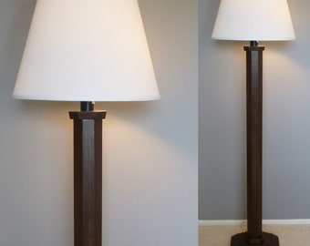 "Classic wood floor lamp base in ""Espresso"" without shade. Includes LED bulb and free shipping to lower 48 states"