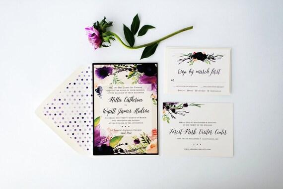 nellie wedding invitation sample set  -  purple watercolor floral // lola louie paperie