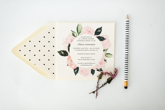 floral bridal shower invitation  - customizable (sets of 10)  //  lola louie paperie
