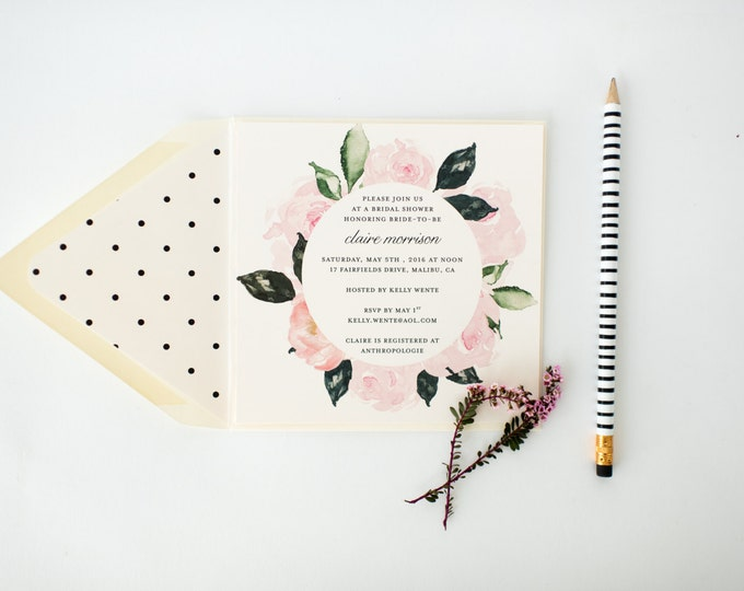 floral bridal shower invitation  - customizable (sets of 10)  //  watercolor floral polka dot blush bridal shower invite